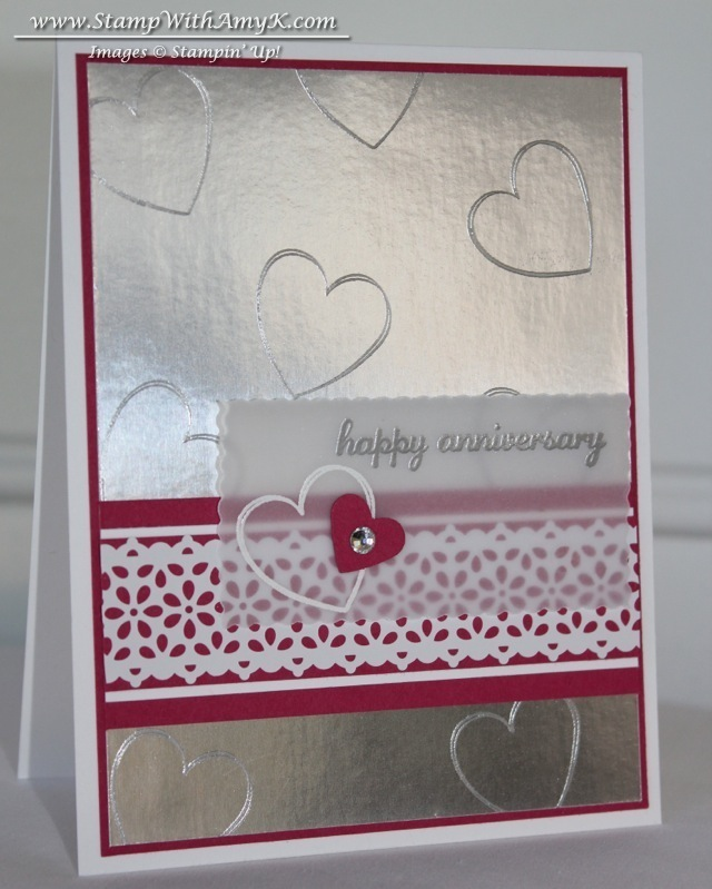 silver foil sheet anniversary card  stampin' up  stamp